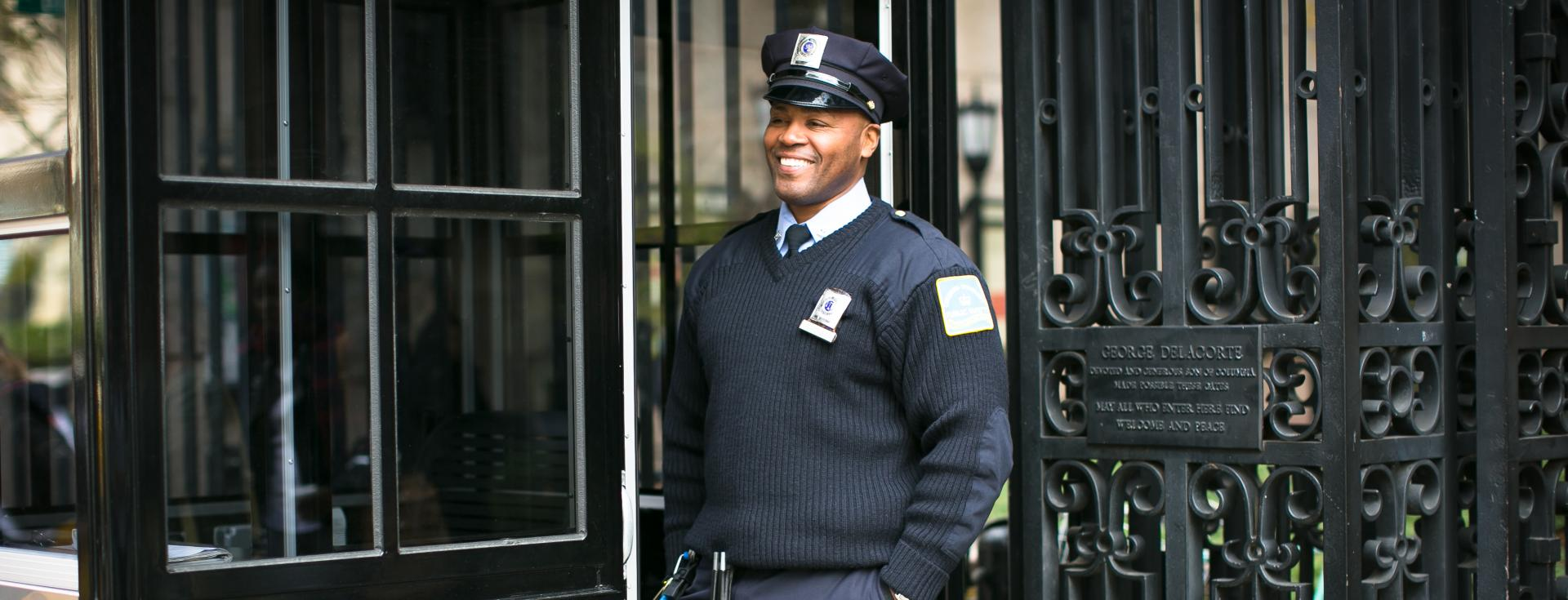 Public Safety officer at guard gate