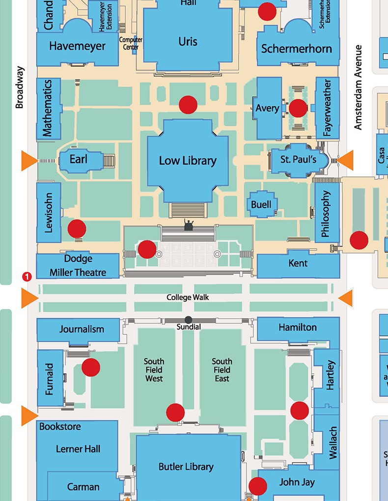 A map of designated smoking areas on the Morningside Campus