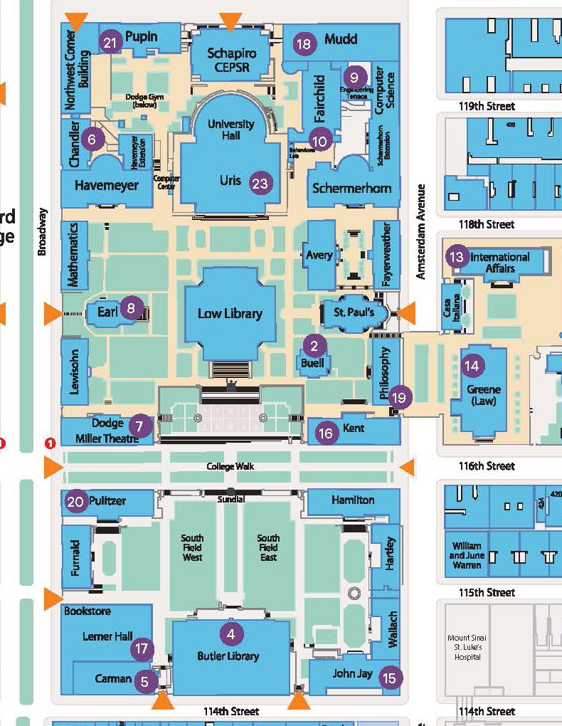 A map of gender-neutral restrooms on the Morningside Campus