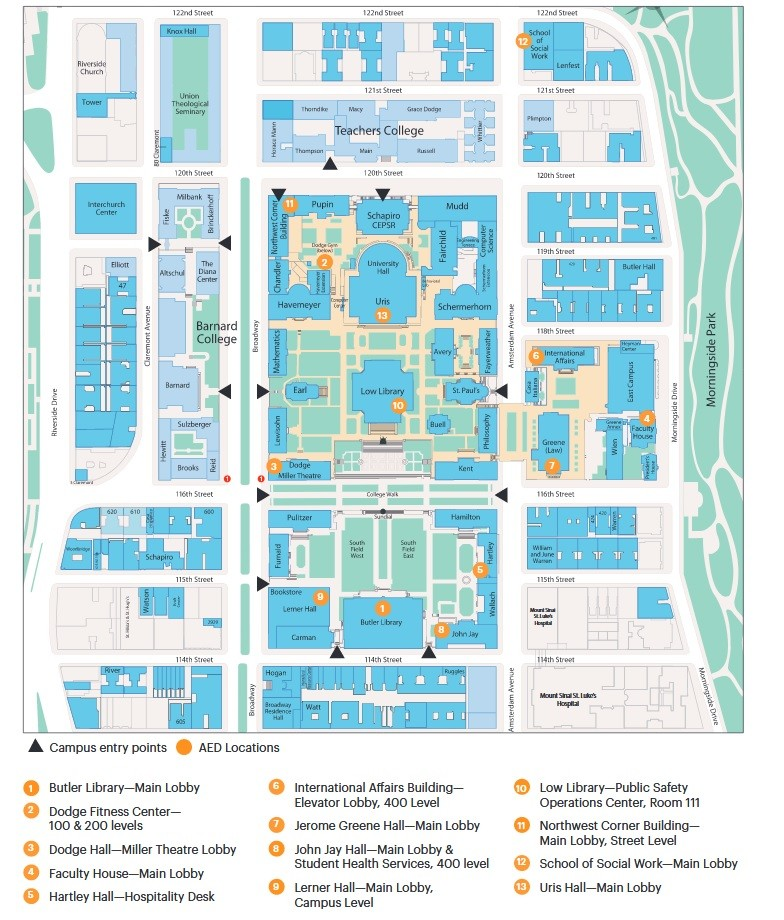 Automated External Defibrillator Campus Maps